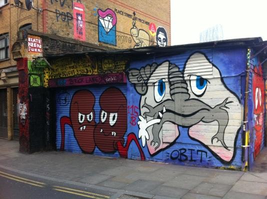 King size telphone box colab with Gee Street Art, Brick Lane - March 2013